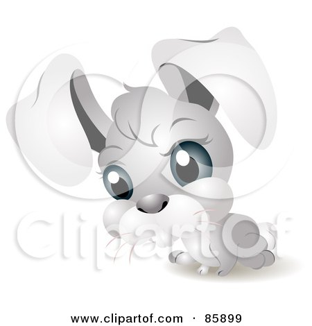 Royalty-Free (RF) Clipart Illustration of an Adorable Big Head Baby Rabbit by BNP Design Studio