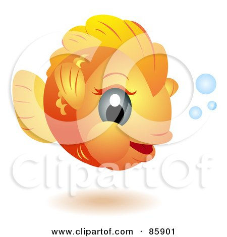 Royalty-Free (RF) Clipart Illustration of an Adorable Big Head Baby Goldfish by BNP Design Studio