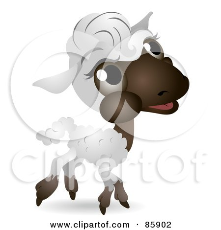 Royalty-Free (RF) Clipart Illustration of an Adorable Big Head Baby Lamb by BNP Design Studio