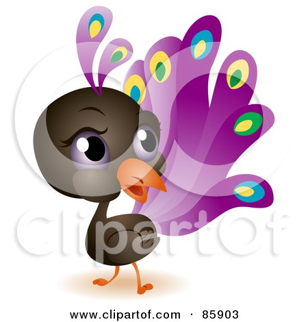 Royalty-Free (RF) Clipart Illustration of an Adorable Big Head Baby Peacock by BNP Design Studio