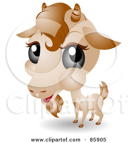 Royalty-Free (RF) Clipart Illustration of an Adorable Big Head Baby Goat by BNP Design Studio