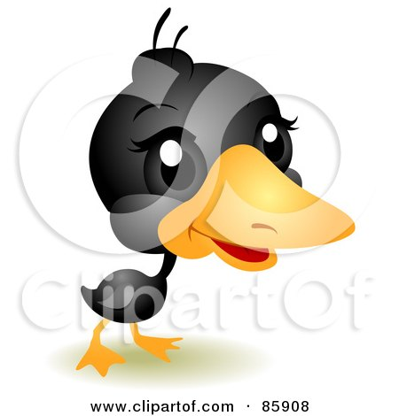 Royalty-Free (RF) Clipart Illustration of an Adorable Big Head Baby Black Duckling by BNP Design Studio