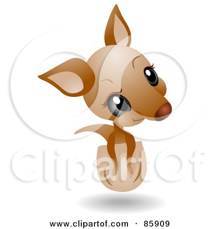 Royalty-Free (RF) Clipart Illustration of an Adorable Big Head Baby Joey Kangaroo by BNP Design Studio