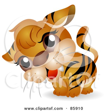 Royalty-Free (RF) Clipart Illustration of an Adorable Big Head Baby Tiger by BNP Design Studio