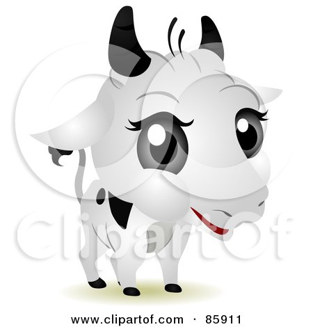 Royalty-Free (RF) Clip Art Illustration of an Adorable Big Head Baby Dairy Cow by BNP Design Studio