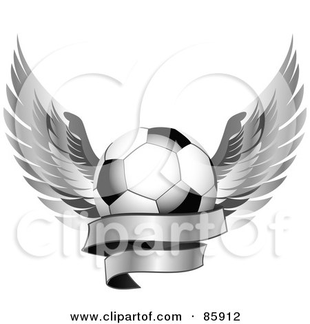 Royalty-Free (RF) Clipart Illustration of a Shiny Soccer Ball With Silver Feathered Wings And A Blank Banner by elaineitalia