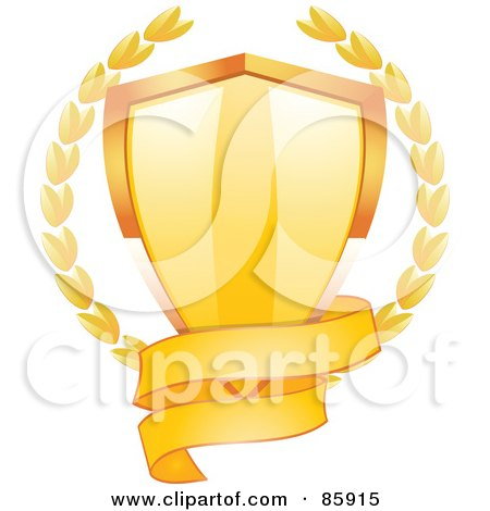 Blank Gold Banner Around The Bottom Of A Shiny Shield With Laurels Posters, Art Prints