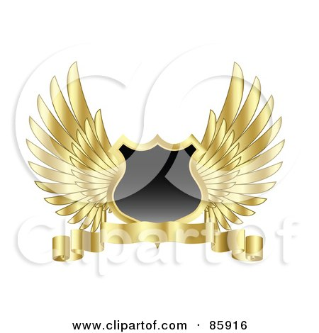 Royalty-Free (RF) Clipart Illustration of a Blank Shield With Feathered Golden Wings And A Blank Banner by KJ Pargeter