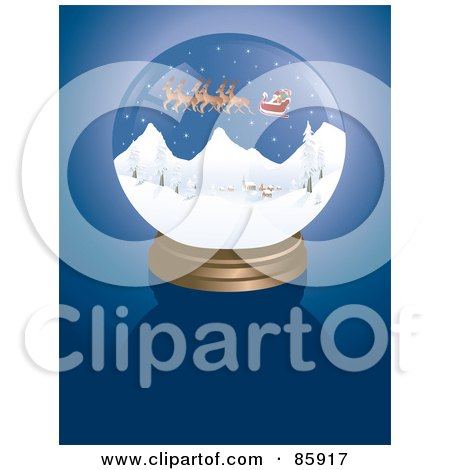 Royalty-Free (RF) Clipart Illustration of a Santa Snow Globe On Blue by Rasmussen Images