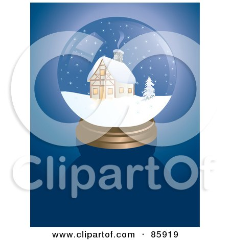 Royalty-Free (RF) Clipart Illustration of a Cabin Snow Globe On Blue by Rasmussen Images