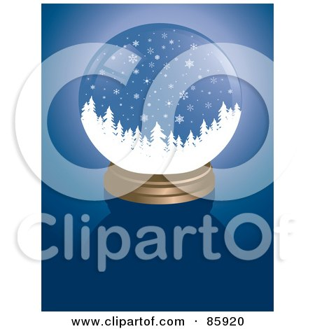 Royalty-Free (RF) Clipart Illustration of a Forest Snow Globe On Blue by Rasmussen Images