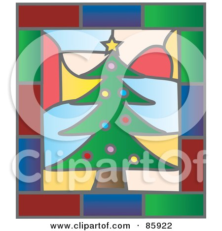 Royalty-Free (RF) Clipart Illustration of a Christmas Tree Stained Glass Window Design by Rasmussen Images