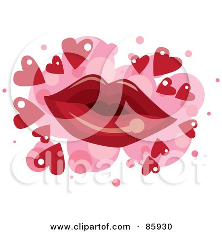 Royalty-Free (RF) Clipart Illustration of a Red Pair Of Lips Over Pink Spots With Red Hearts On White by mayawizard101