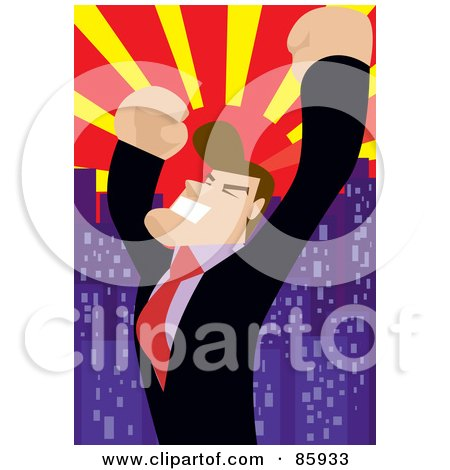 Royalty-Free (RF) Clipart Illustration of a Successful Businessman Celebrating Under A City Sunset by mayawizard101