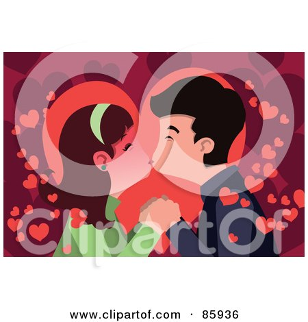 Royalty-Free (RF) Clipart Illustration of a Young Couple Smooching Over A Background Of Hearts by mayawizard101