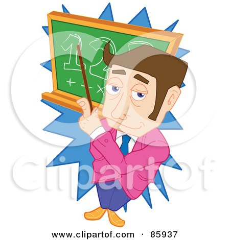 Royalty-Free (RF) Clipart Illustration of a Brunette Male Teacher Pointing At Math On A Board by mayawizard101
