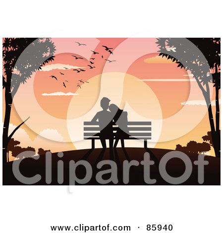 Silhouetted Couple Sitting In A Bench And Watching The Sun Set Posters, Art Prints