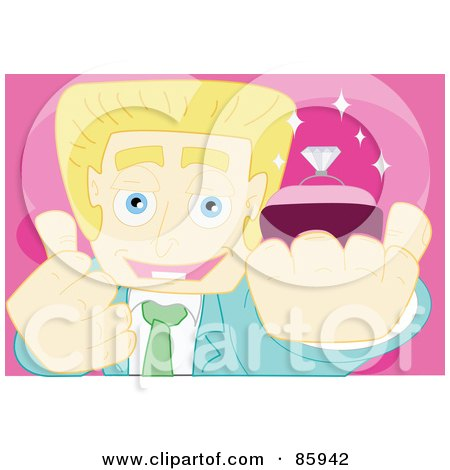 Royalty-Free (RF) Clipart Illustration of a Blond Businessman Holding His Thumb Up And Presenting A Diamond Engagement Ring by mayawizard101