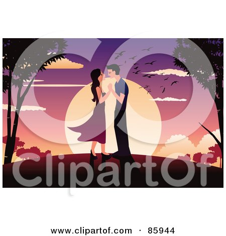 Royalty-Free (RF) Clipart Illustration of a Couple Adoring Each Other Against A Sunset by mayawizard101