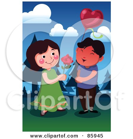 Royalty-Free (RF) Clipart Illustration of a Young Couple Exchanging A Rose And Balloon by mayawizard101