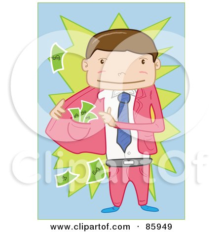 Royalty-Free (RF) Clipart Illustration of a Pick Pocketer Businessman Revealing Cash In Hs Jacket by mayawizard101