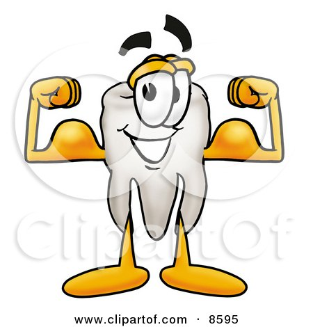 Clipart Picture of a Tooth Mascot Cartoon Character Flexing His Arm Muscles by Toons4Biz