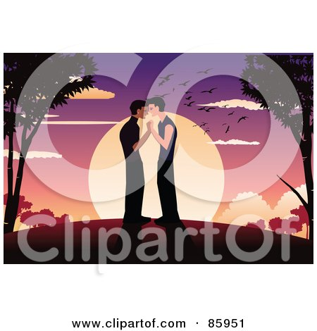 Royalty-Free (RF) Clipart Illustration of a Romantic Gay Couple Standing And Kissing Against A Sunset by mayawizard101