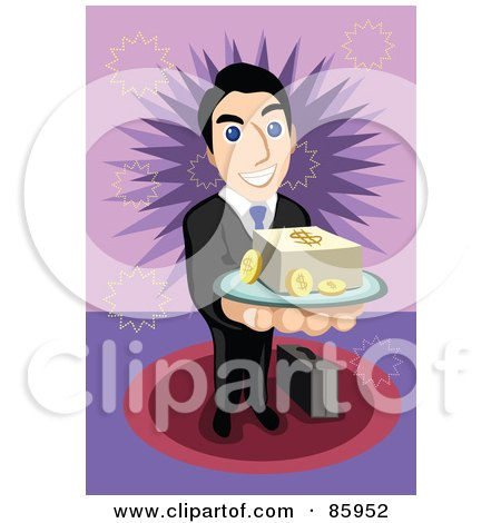 Royalty-Free (RF) Clipart Illustration of a Friendly Businessman Serving A Tray Of Cash And Coins by mayawizard101