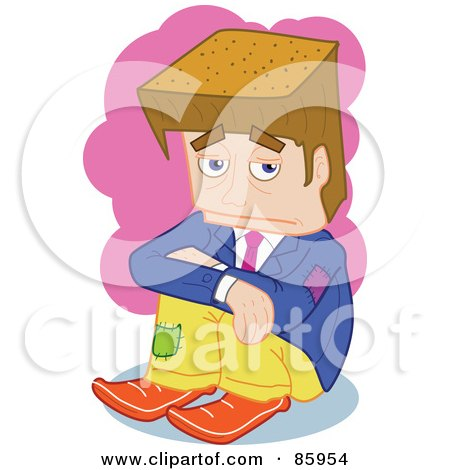 Royalty-Free (RF) Clipart Illustration of a Poor Brunette Block Head Businessman by mayawizard101