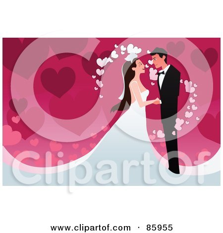 Royalty-Free (RF) Clipart Illustration of a Romantic Wedding Couple With Magical Hearts Over Pink by mayawizard101