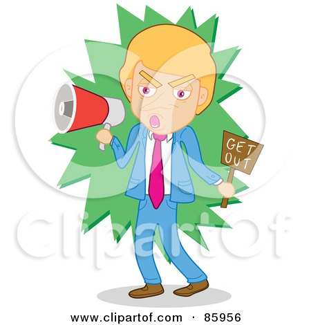 Royalty-Free (RF) Clipart Illustration of a Mad Businessman Shouting Get Out Through A Megaphone by mayawizard101