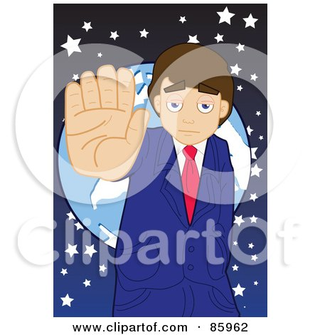 Royalty-Free (RF) Clipart Illustration of a Businessman Standing In Front Of A Globe, Holding His Hand Up by mayawizard101