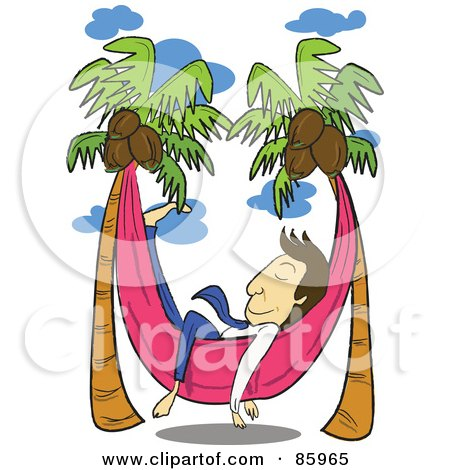 Royalty-Free (RF) Clipart Illustration of a Relaxed Businessman Napping In A Hammock Between Coconut Palm Trees by mayawizard101