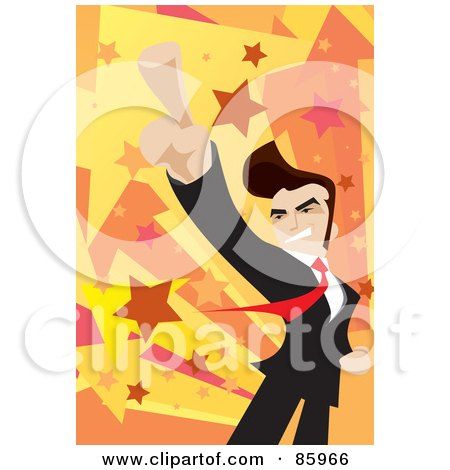Royalty-Free (RF) Clipart Illustration of a Successful Businessman Holding His Finger Up by mayawizard101