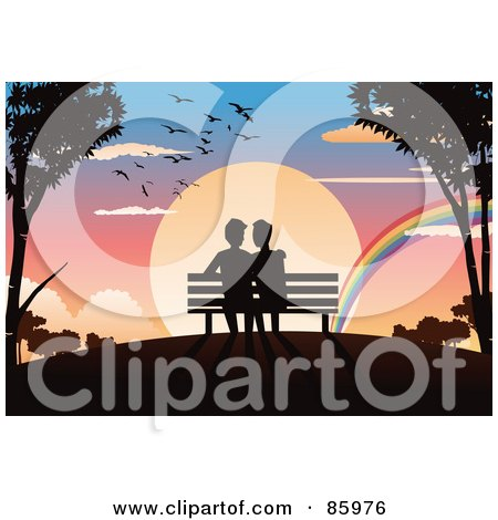 Royalty-Free (RF) Clipart Illustration of a Romantic Gay Couple Sitting On A Bench, Watching A Rainbow In Front Of A Sunset by mayawizard101