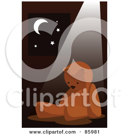 Royalty-Free (RF) Clipart Illustration of a Light Shining On A Lonely Teddy Bear By A Window by mayawizard101
