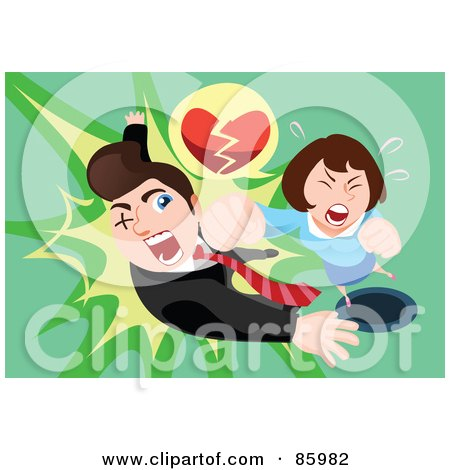 Royalty-Free (RF) Clipart Illustration of a Woman With A Broken Heart, Socking A Man In The Face by mayawizard101