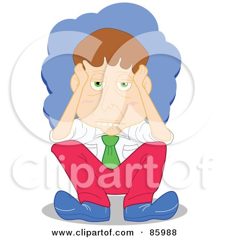 Royalty-Free (RF) Clipart Illustration of a Stressed Businessman Rubbing His Temples by mayawizard101