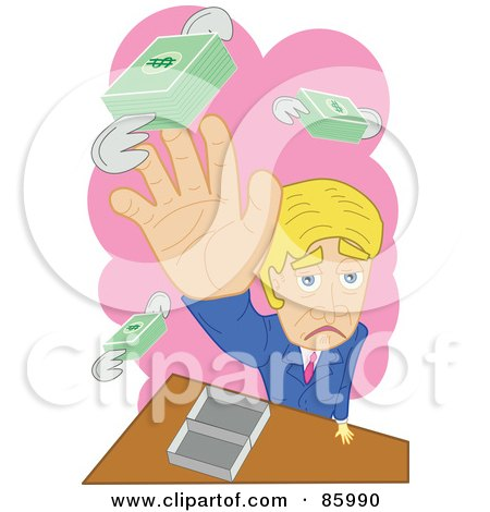 Royalty-Free (RF) Clipart Illustration of a Grouchy Business Man Trying To Catch His Flying Money by mayawizard101