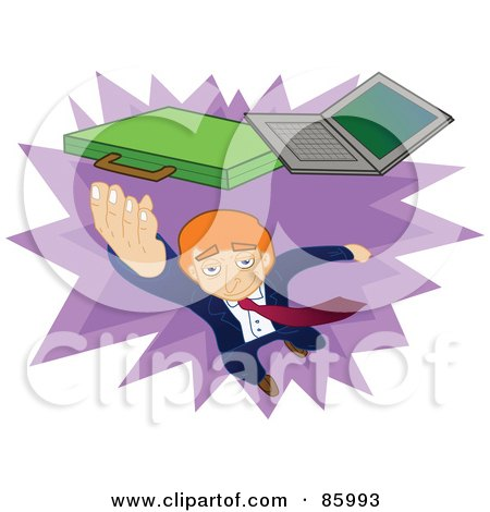 Royalty-Free (RF) Clipart Illustration of a Red Haired Businessman Leaping To Grab His Laptop And Briefcase by mayawizard101