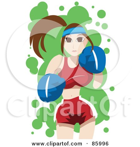 Royalty-Free (RF) Clipart Illustration of a Brunette Female Boxer Throwing Punches by mayawizard101