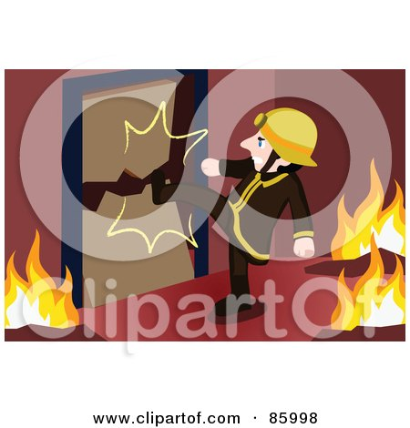 Royalty-Free (RF) Clipart Illustration of a Fireman Kicking in a Door by mayawizard101