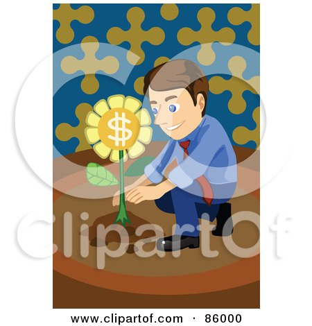 Royalty-Free (RF) Clipart Illustration of a Brunette Businessman Crouching And Planting A Money Flower by mayawizard101