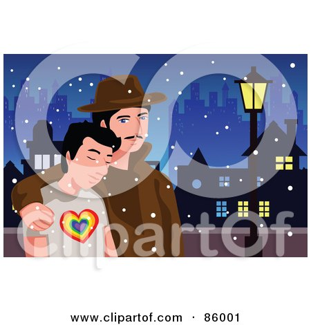 Royalty-Free (RF) Clipart Illustration of a Gay Couple Walking Through A City On A Snowy Night by mayawizard101