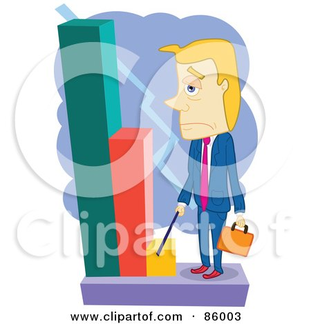 Royalty-Free (RF) Clipart Illustration of a Blond Businessman Looking Grumpily At A Decreasing Bar Graph by mayawizard101