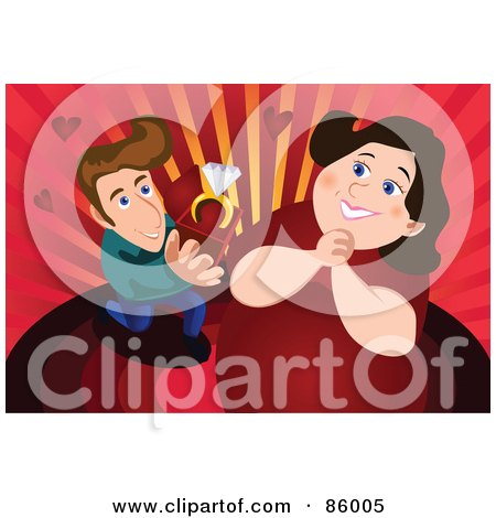 Royalty-Free (RF) Clipart Illustration of a Thin Man Proposing To Hs Chubby Girlfriend by mayawizard101
