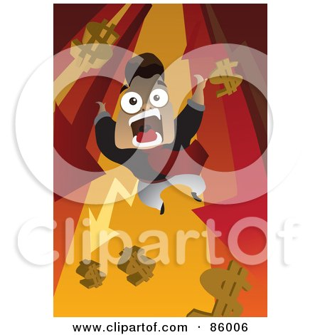 Royalty-Free (RF) Clipart Illustration of a Screaming Man Falling Down With Arrows And Dollar Symbols by mayawizard101