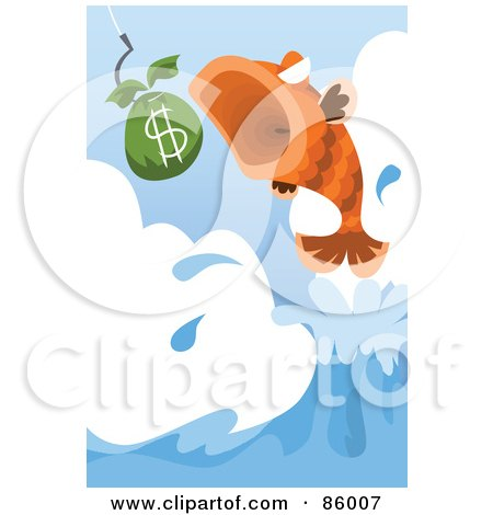 Royalty-Free (RF) Clipart Illustration of a Leaping Fish About To Eat Money by mayawizard101
