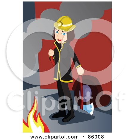 Royalty-Free (RF) Clipart Illustration of a Fire Woman Holding An Ax And Standing Between A Fire Engine And Flames by mayawizard101