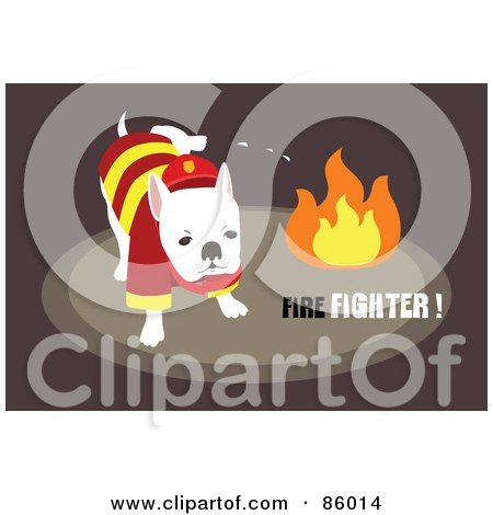 Royalty-Free (RF) Clipart Illustration of a Fire Department Dog Peeing On Flames by mayawizard101